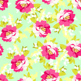 Floral seamless pattern with pink flowers Stock Images