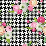 Floral Seamless Pattern with Pink Flowers and Dogtooth Ornament. Botanical Background for Fabric Textile. Wallpaper, Wrapping Paper and Decor. Vector Royalty Free Stock Photos