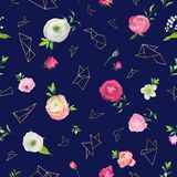 Floral Seamless Pattern with Pink Flowers and Golden Geometric Elements. Botanical Background for Fabric Textile. Wallpaper, Wrapping Paper and Decor. Vector Stock Photos