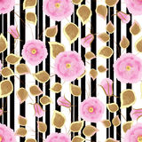 Floral seamless pattern , pink flowers  light background stripes. Stock Photos