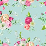 Floral Seamless Pattern with Pink Flowers and Lily. Botanical Background for Fabric Textile, Wallpaper, Wrapping Paper. And Decor. Vector illustration vector illustration