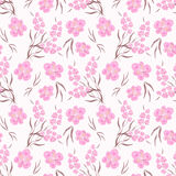 Floral seamless pattern , pink flowers white background. Floral seamless pattern , cute pink flowers white background. For printing on fabric and paper Stock Photos