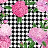 Floral Seamless Pattern with Pink Peony Flowers. Spring Blooming Flowers Background for Fabric, Wedding Decoration. Floral Seamless Pattern with Pink Peony Royalty Free Stock Photo