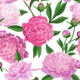 Floral Seamless Pattern with Pink Peony Flowers. Spring Blooming Flowers Background for Fabric, Wedding Decoration. Floral Seamless Pattern with Pink Peony Stock Photo