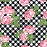 Roses seamless pattern on black and white gingham, chequered background. Vector illustration. Floral seamless pattern. Pink roses on black and white gingham stock illustration