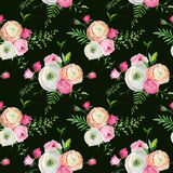 Floral Seamless Pattern with Pink Roses and Ranunculus Flowers. Botanical Background for Fabric Textile, Wallpaper. And Decor. Vector illustration Stock Images