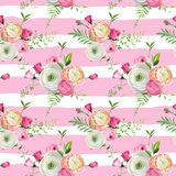Floral Seamless Pattern with Pink Roses and Ranunculus Flowers. Botanical Background for Fabric Textile, Wallpaper. Wrapping Paper and Decor. Vector Royalty Free Stock Images