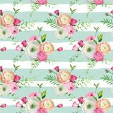 Floral Seamless Pattern with Pink Roses and Ranunculus Flowers. Botanical Background for Fabric Textile, Wallpaper. Wrapping Paper and Decor. Vector Royalty Free Stock Photography