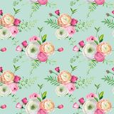 Floral Seamless Pattern with Pink Roses and Ranunculus Flowers. Botanical Background for Fabric Textile, Wallpaper. And Decor. Vector illustration Stock Image