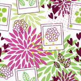 Floral pattern with polaroid frames Stock Photos
