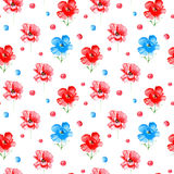 Floral seamless pattern of a poppy flowers and circles. Watercolor hand drawn illustration.White background stock illustration