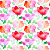 Floral seamless pattern with poppy flowers. Watercolor hand drawn illustration.White background Stock Photo