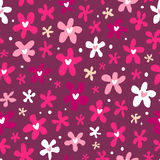 Floral seamless pattern on purple background Stock Image