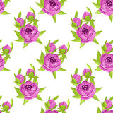 Floral seamless pattern in purple flowers for textile print, book cover, wallpaper, manufacturing, wrap, scrapbooking Royalty Free Stock Photos