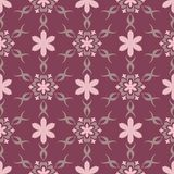 Floral seamless pattern. Purple red background with flower design elements. For wallpapers, textile and fabrics Stock Images