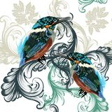 Floral seamless pattern with realistic birds and swirls Royalty Free Stock Images