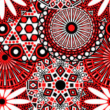 Floral seamless pattern in red, black and white colours Stock Photography