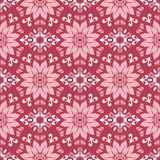 Floral seamless pattern. Red colored background. For wallpapers, textile and fabrics Stock Image