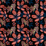 Floral seamless pattern , red flowers black background. Royalty Free Stock Photos