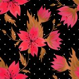 Floral seamless pattern with red flowers texture. Background Stock Photography
