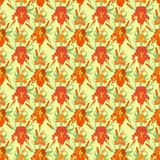 Floral seamless pattern. Red iris flower background. Stock Images