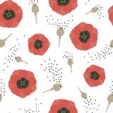 Floral seamless pattern with red poppies and seeds. Vector. stock illustration