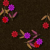 Floral seamless pattern in red purple gold brown shades Royalty Free Stock Photography