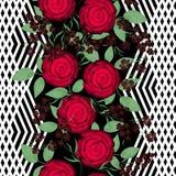 Floral seamless pattern , red roses light background stripes. vector illustration