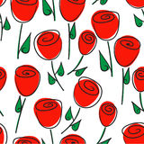 Floral seamless pattern of red roses and stylized flowers. Stock Image