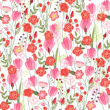 Floral seamless pattern with red tulips and roses. Stock Images
