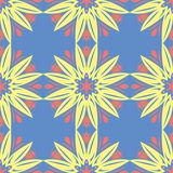 Floral seamless pattern. Red and yellow flower elements on blue background. For wallpapers, textile and fabrics Royalty Free Stock Image
