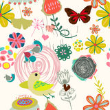 Floral seamless pattern in retro style Stock Image