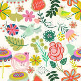 Floral seamless pattern in retro style Stock Images
