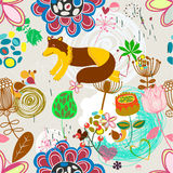 Floral seamless pattern in retro style Stock Photos