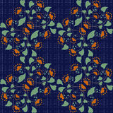 Floral seamless pattern in retro style on blue background. Floral seamless pattern in retro style, cartoon cute flowers on blue background specks Stock Image