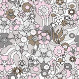 Floral seamless pattern in retro style, cartoon cute flowers bac Royalty Free Stock Photography
