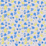 Floral seamless pattern in retro style. Cartoon cute flowers on gray background Royalty Free Stock Image