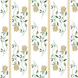 Floral seamless pattern in retro style, cute roses flowers on wh Stock Image
