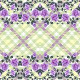 Floral seamless pattern (roses), fabric tartan. Royalty Free Stock Photography