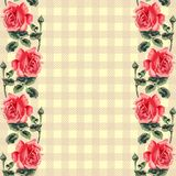 Floral seamless pattern (roses), fabric tartan. Royalty Free Stock Image