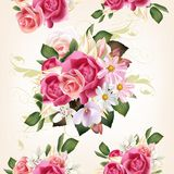Floral seamless pattern with roses and flowers Stock Photos