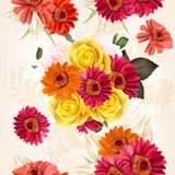 Floral seamless pattern with roses and flowers Stock Images