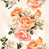 Floral  seamless pattern with roses and flowers in watercolor st Royalty Free Stock Photo