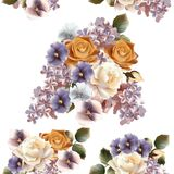Floral seamless pattern with roses, lilac and violets Stock Photo