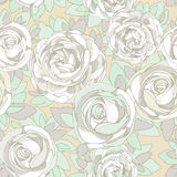 Floral seamless pattern. Roses and peonies Stock Photo