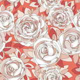 Floral seamless pattern. Roses and peonies. Detailed white flowers, buds and petals. Bright background, botanical rose. Juicy red background with delicate Stock Image