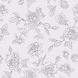 Floral Seamless Pattern with Roses in Sketched Outline Style. Flowers Monochrome Hand Drawn Background for Fabric Stock Photography