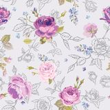 Floral Seamless Pattern with Roses in Sketched Outline Style. Flowers Unfinished Hand Drawn Background for Fabric, Print Royalty Free Stock Photography