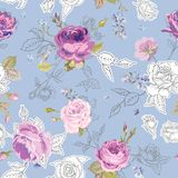 Floral Seamless Pattern with Roses in Sketched Outline Style. Flowers Unfinished Hand Drawn Background for Fabric, Print Stock Photos