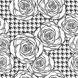 Floral seamless pattern with roses on tweed texture background Stock Photo